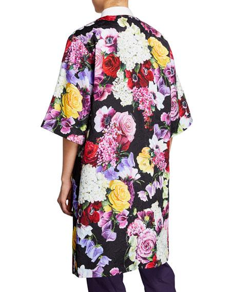 Dolce & Gabbana Floral Brocade Knee-Length Coat