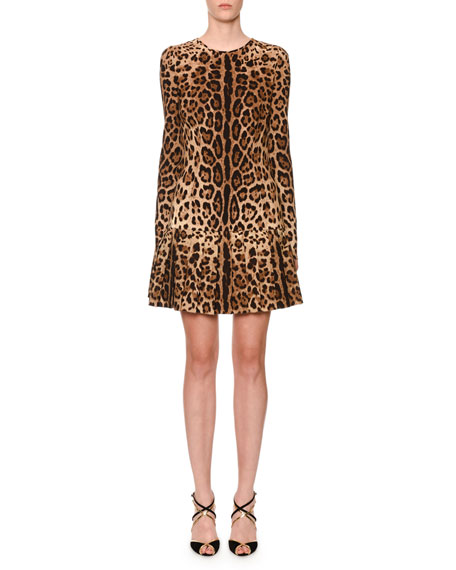 Dolce & Gabbana Long-Sleeve Animal-Print Stretch Cady Blouse