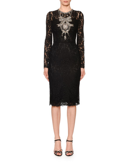 Dolce & Gabbana Long-Sleeve Crystal-Necklace Cordonetto Lace