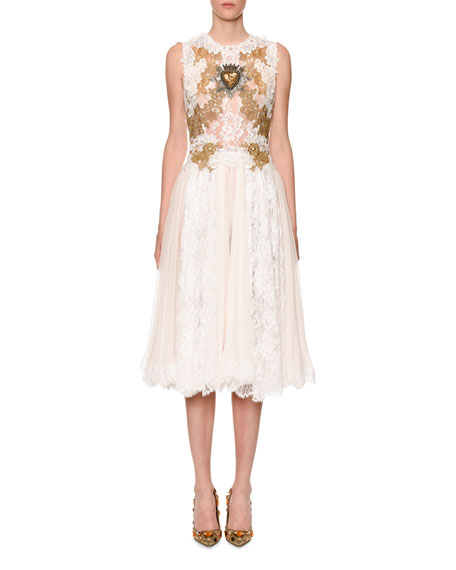 Dolce & Gabbana Sleeveless Sacred-Heart Embellished Chantilly Lace Dress