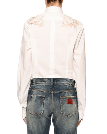 Dolce & Gabbana Long-Sleeve Button-Front Lace-Inset Poplin Blouse