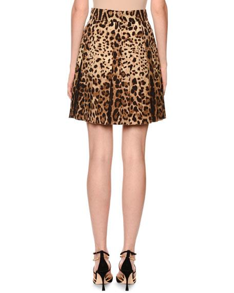 Dolce & Gabbana Pleated Leopard-Print Stretch-Wool Skirt