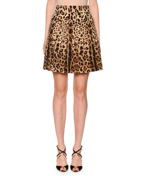 Dolce & Gabbana Pleated Leopard-Print Stretch-Wool Skirt
