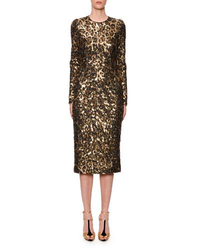 Long-Sleeve Sequined Leopard-Print Midi Dress
