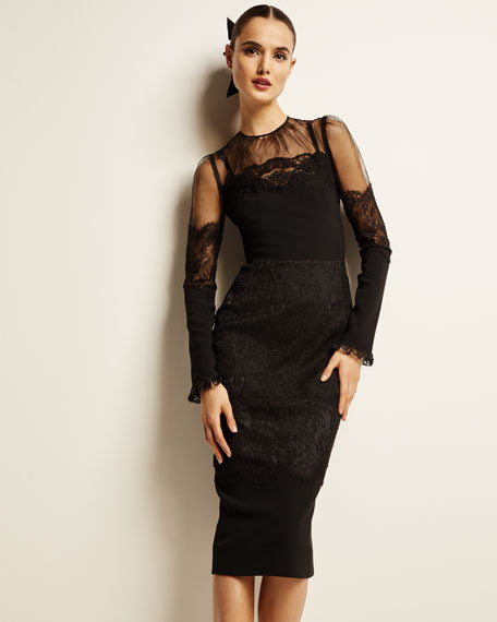 Dolce & Gabbana Long-Sleeve Sheer-Yoke Lace-Trim Midi Dress