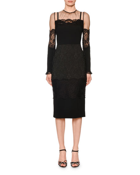 Long-Sleeve Sheer-Yoke Lace-Trim Midi Dress in Black