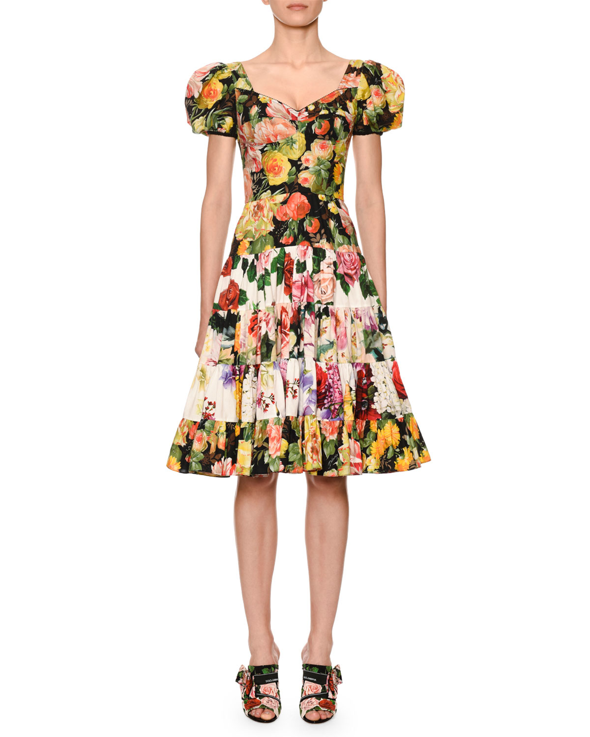 17fa744bd Dolce & Gabbana Puffed-Sleeve Floral-Patchwork Fit & Flare Dress ...