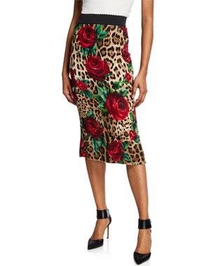 7ad0086369b Dolce   Gabbana Rose   Leopard Tube Skirt