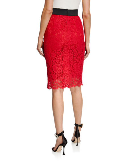 Image 2 of 3: Dolce & Gabbana Cordonetto Lace Pencil Skirt
