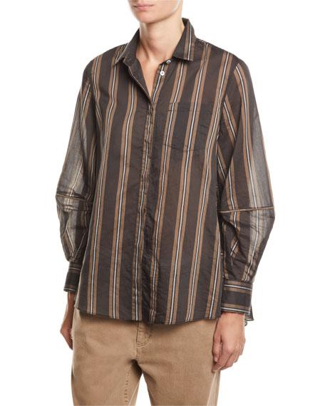 Brunello Cucinelli Monili-Striped Striped Organza Button-Front Blouse