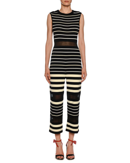 Off-White Sleeveless Striped Jumpsuit