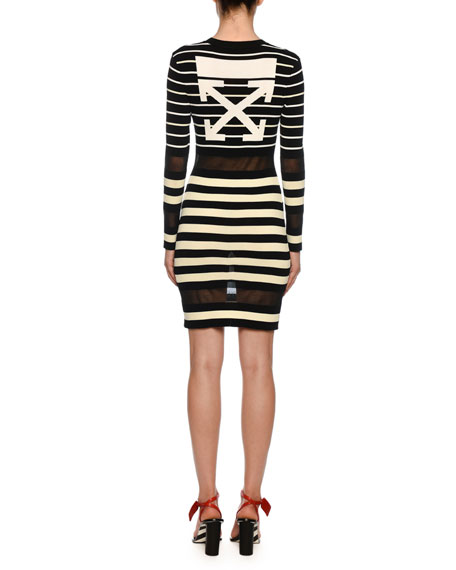 Off-White Long-Sleeve Sheer Striped Bodycon Dress