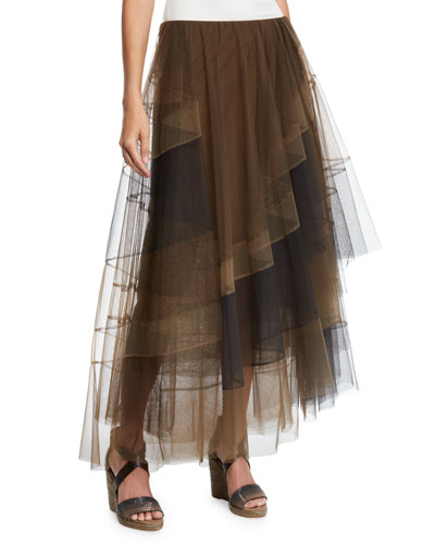 Diagonal-Striped Asymmetric-Tiered Tulle Skirt