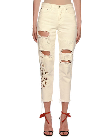 Off-White Floral-Embroidered Ripped Boyfriend Jeans, Ecru