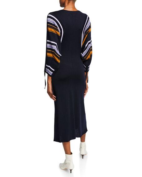 Marni Striped Dolman-Sleeve Midi Dress