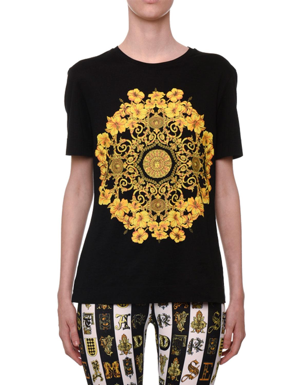 3433426f90 Short-Sleeve Crewneck Hibiscus-Print Jersey T-Shirt