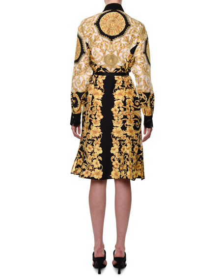 Versace Long-Sleeve Hibiscus-Print Shirtdress