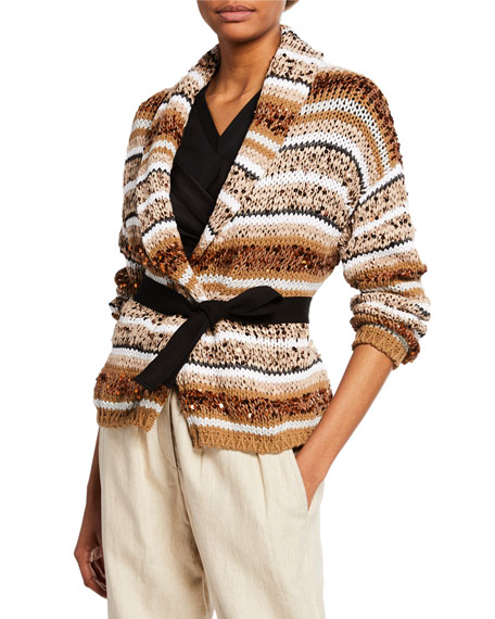 Brunello Cucinelli Cottons SEQUINED STRIPED BELTED CARDIGAN