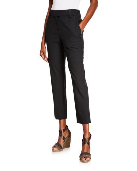Brunello Cucinelli Narrow Belted Look Ankle Pants