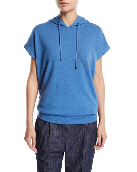 Brunello Cucinelli Hooded Cap-Sleeve Sweatshirt
