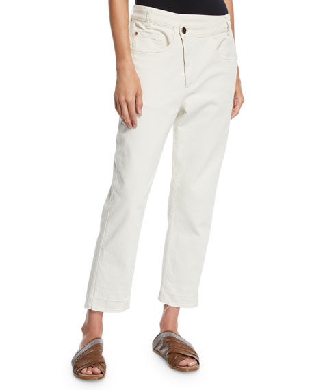 Brunello Cucinelli Crossover Straight-Leg Cropped Pants