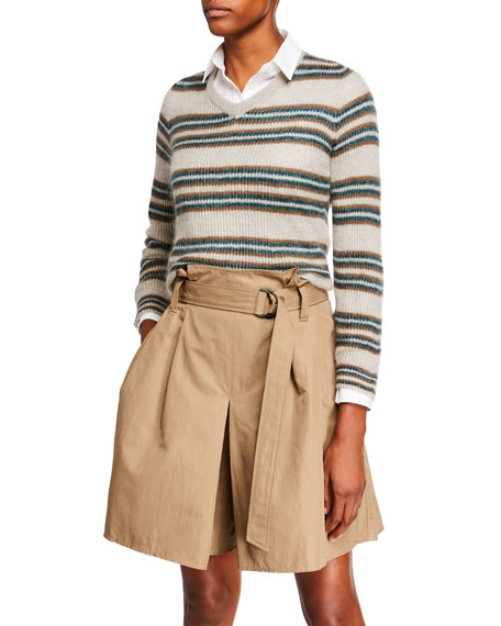 Brunello Cucinelli Shimmer-Striped Crop Mohair Sweater