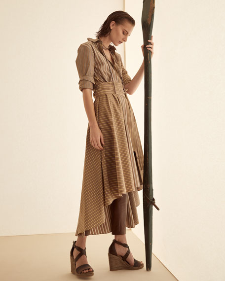 Brunello Cucinelli Belted Striped-Poplin Shirtdress