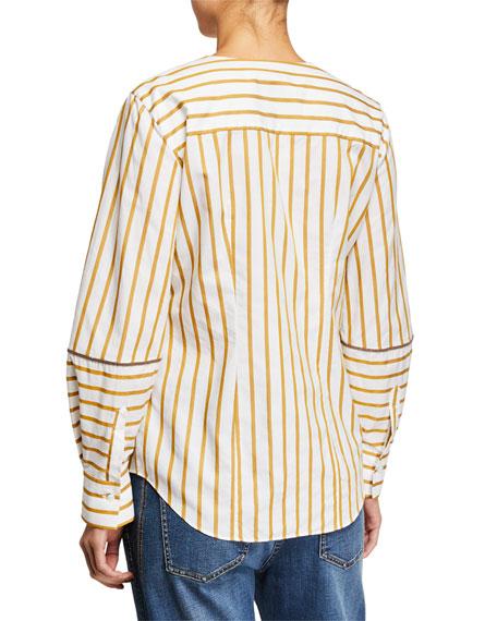Brunello Cucinelli Striped Faux-Wrapped V-Neck Blouse