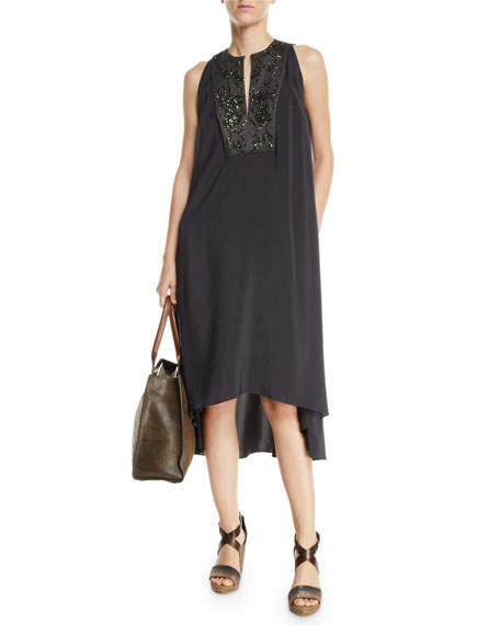 Brunello Cucinelli Sleeveless Pailletteed-Bib High-Low Dress