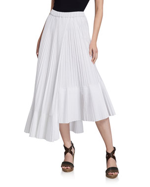 19eb329080e Brunello Cucinelli Cotton Faux Wrap Pleated Midi Skirt