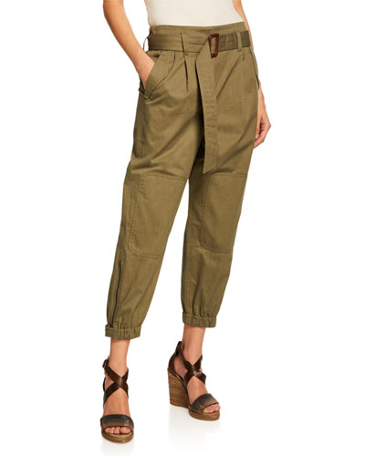 Belted Cotton Utility Pants