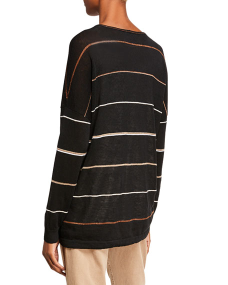 Brunello Cucinelli Shimmer-Striped Linen Cardigan