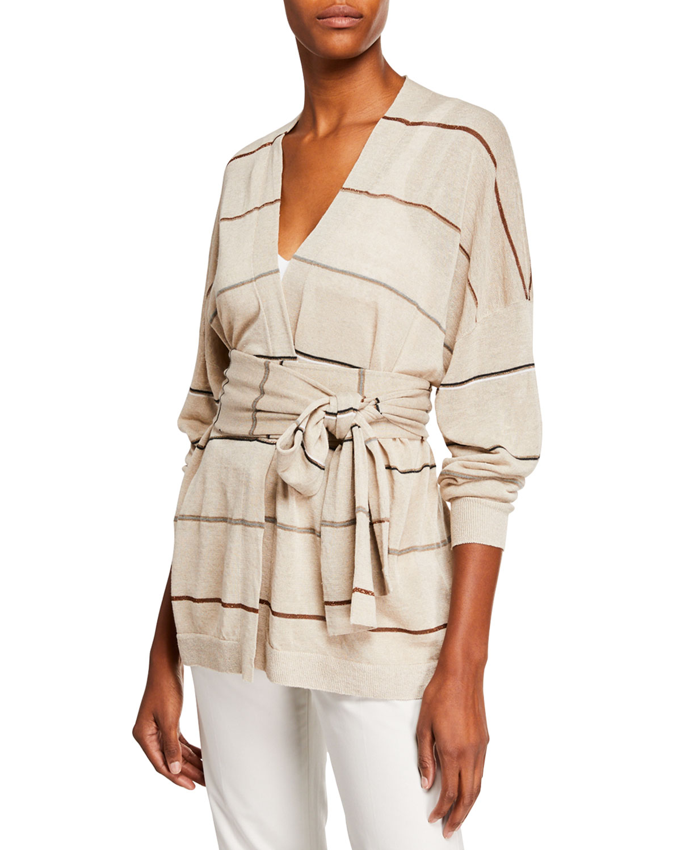 5ff1d6ea47 Brunello Cucinelli Striped Linen Wrap-Waist Cardigan | Neiman Marcus