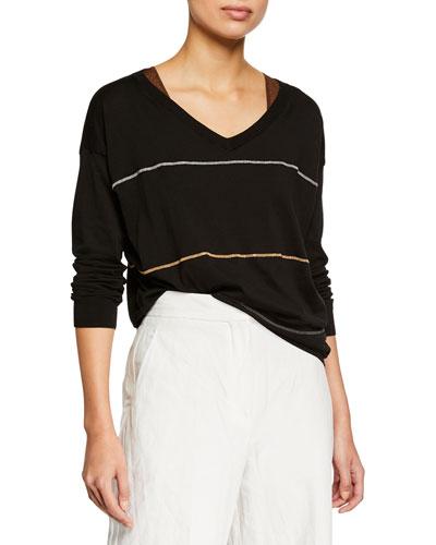 Cotton V-Neck Long-Sleeve Pullover Sweater w/ Monili Stripes