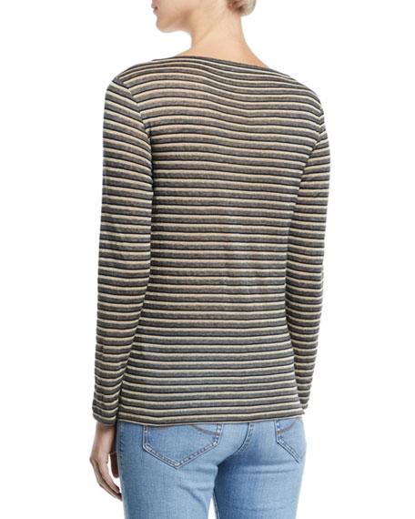 Brunello Cucinelli Long-Sleeve Shimmer-Striped V-Neck Top