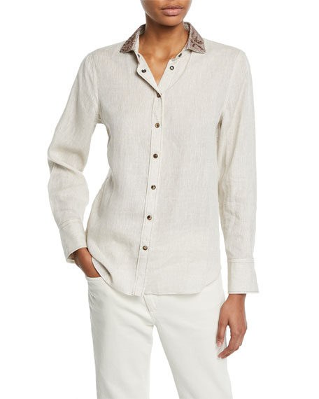 Brunello Cucinelli Embroidered-Collar Linen Button-Front Blouse