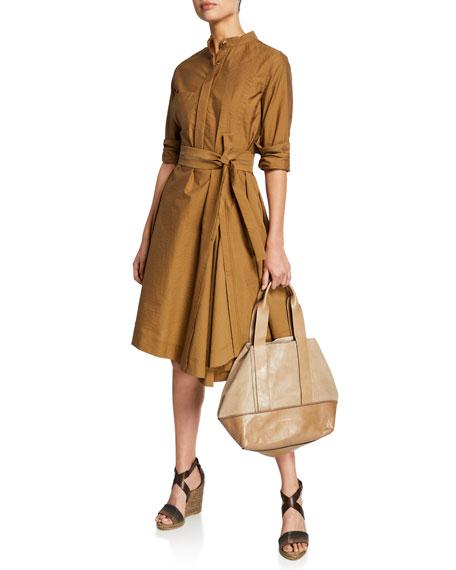 Brunello Cucinelli Crinkled Cotton Long-Sleeve Belted Shirt Dress