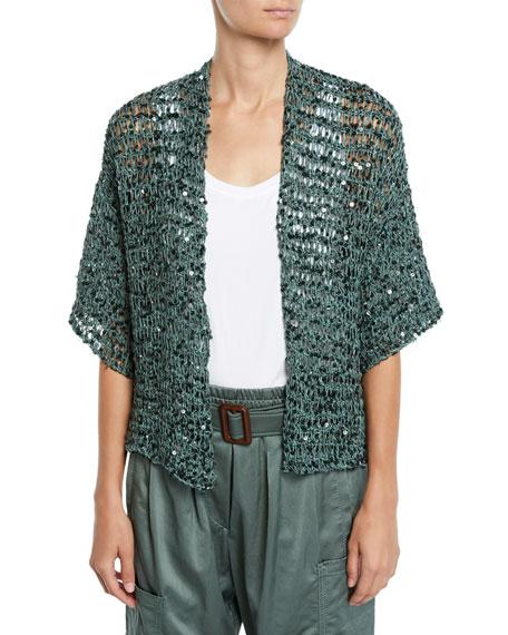 Brunello Cucinelli Sequin Net-Knit Belted Cardigan