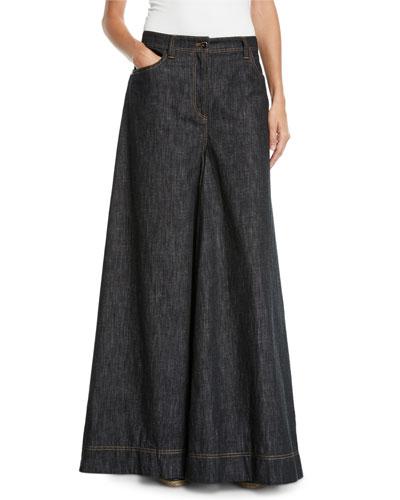 Jean Maxi Skirt Pants