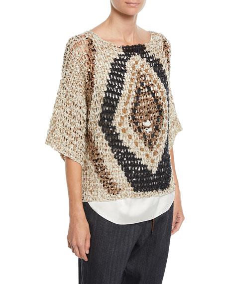 Brunello Cucinelli Sequined Open-Weave Diamond 3/4-Sleeve Sweater