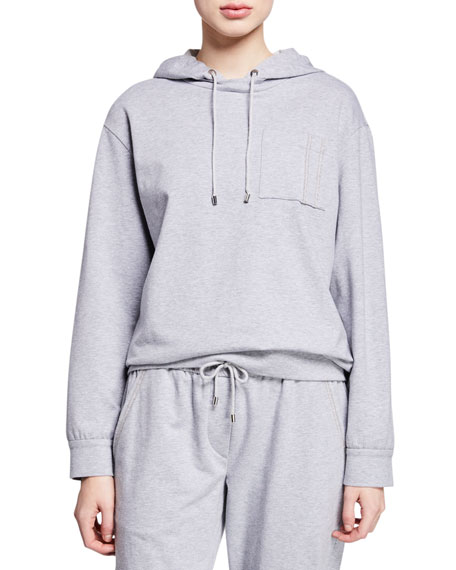 Brunello Cucinelli Heathered Monili-Pocket Hoodie Sweatshirt