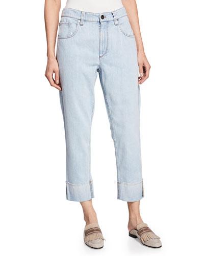 Acid-Washed Straight-Leg Jeans