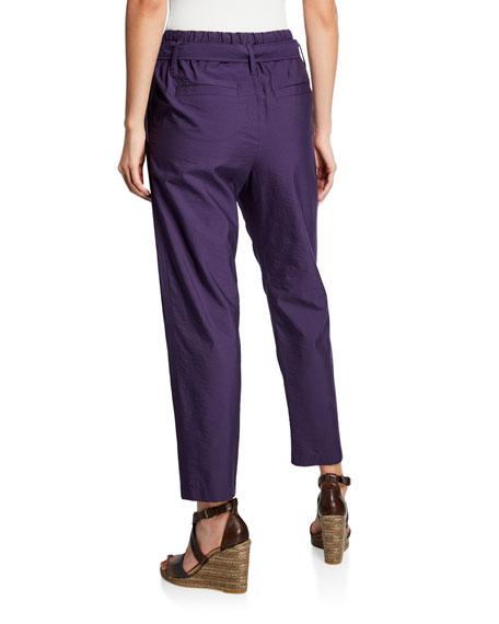 Brunello Cucinelli Crinkled Cotton Straight-Leg Utility Pants