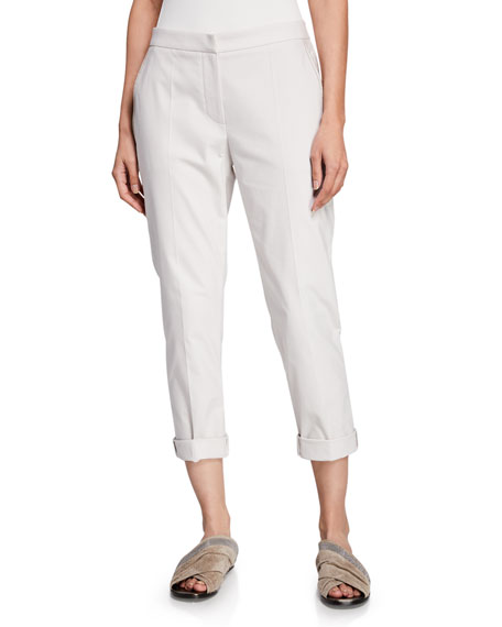 Brunello Cucinelli Cotton-Twill Zip-Front Cigarette Pants