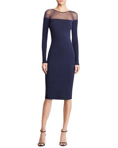Long-Sleeve Illusion Body-Con Dress