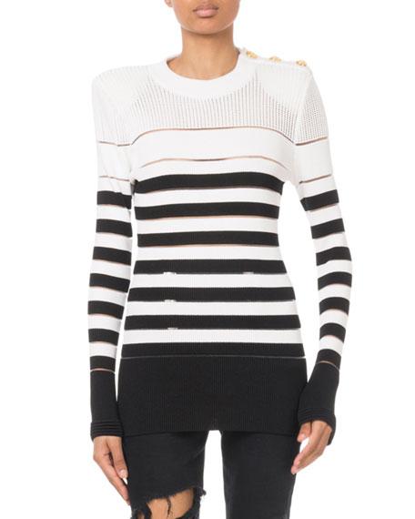 Balmain Striped Button-Shoulder Sweater