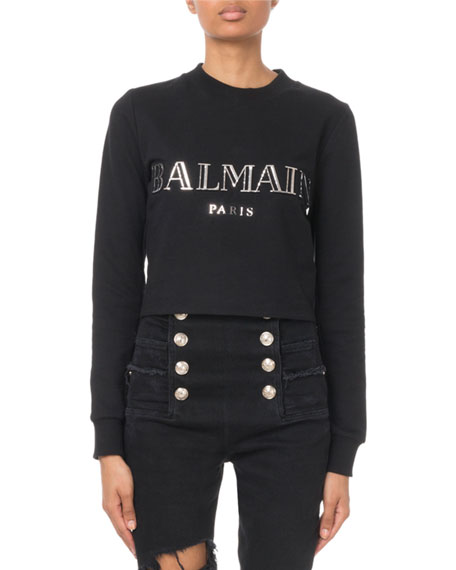 Balmain Cropped 3D Logo Sweatshirt