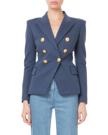 Balmain Blazers Double-Breasted Golden-Button Classic Jersey Blazer
