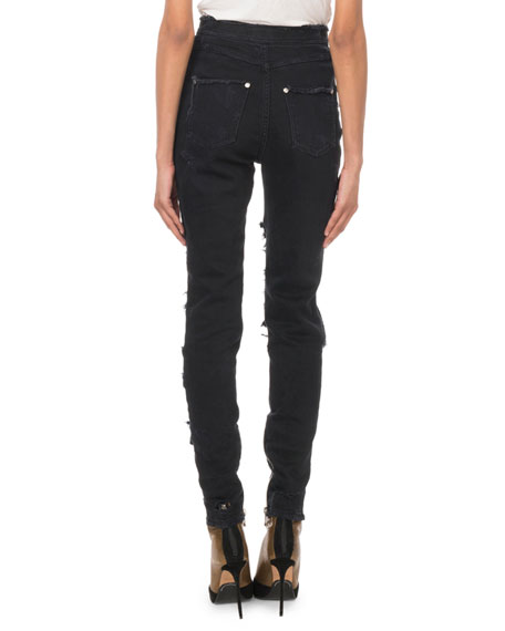 Balmain High-Waist Eight-Button Destroyed Skinny Jeans