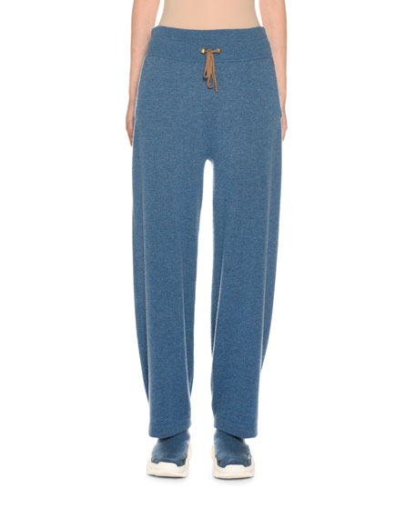 Agnona Wide-Leg Cashmere Loungewear Pants